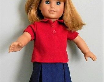 School uniform navy skirt with red polo shirt fits American Girl