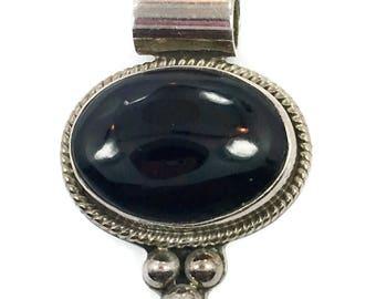 Black Onyx Pendant, Vintage Pendant, Sterling Silver, Mexico, Onyx Pendant, Black Stone, 925, Large Stone, Boho Statement, Oval