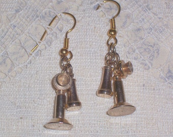 Upcycled Two Piece Candle Stick Telephone Earrings - Pierced