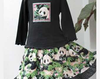 Panda Girls Outfit Ruffled Twirl Skirt Cotton Fall Girl Clothes Tiered Skirt & Long Sleeve Top Set Kids Clothes Pre-teen Gift Animal Lover