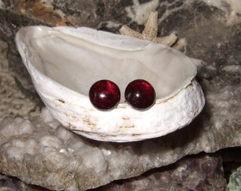 Longer Post Red Garnet 6mm Round Stud Earrings Earings Titanium Ear Post and Clutch Hypo Allergenic