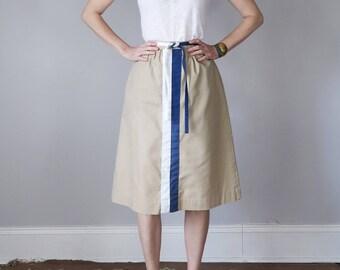 70s skirt tan high waist striped tie belt (s - m)