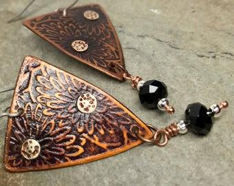 Copper Earrings - Flower Earrings - Chrysanthemum Earrings - Mixed Metal - Handmade - One of a kind - Embossed - Gift for Her - Graduation