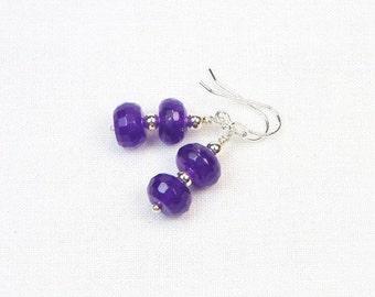 Amethyst Earrings - Faceted Gemstones - Genuine Gemstones - Sterling Silver - Dangle Earrings - Beaded Earrings - Gift For Her
