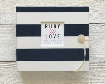 Navy Canopy Stripe | BABY BOOK