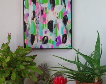 Abstract Mixed Media Painting Original Framed