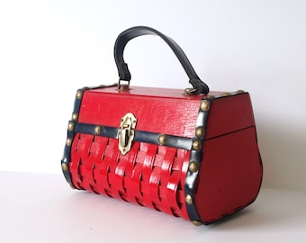 Roger Van S Red Basket Purse Blue Leather Brass Studs Vintage