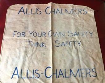 """Vintage Original Allis-Chalmers """"Safety"""" Shop Rag - Crop Farm Tractor Collectible"""