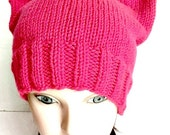 Pussy Hat Project Cat Hat Kitty Cat Cap Hot Neon Pink Adult Teen Womens March on Washington hand knit hat knitting READY TO SHIP