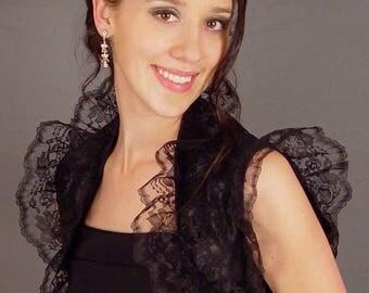 Lace bolero jacket wedding shrug bridal cover up sleeveless ruffled edge LBA307 AVAILABLE IN black and 2 other colos