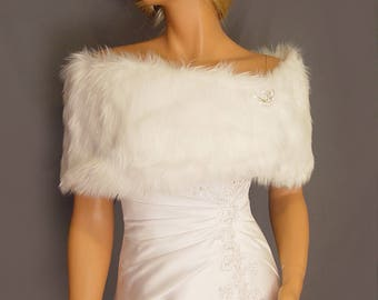 faux fur shrug stole bridal wrap wedding in Angora bridesmaid cover up evening winter fur shawl for ball FW200 AVL in white & 3 other colors