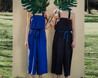 Jumpsuit in electric blue viscose, Overall electric blue romper, baggy jumpsuit handmade