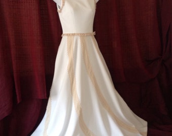 Vintage White Polyester Maxi Dress Sleeveless Full Swirling Skirt Ecru Lace Vicky Vaughn