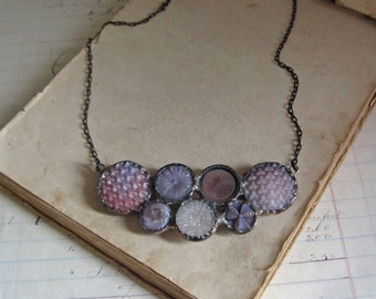 Purple Vintage Glass Button Bib Necklace One of a Kind Stained Glass Jewelry
