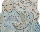MOONLIGHT MEDITATION, a ceramic sculpture for the wall.