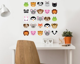 30 Animal Emoji  Fabric Wall Decals, Removable and Reusable Eco-friendly Wall Stickers