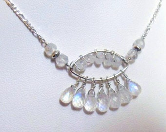 Silver Moonstone Necklace- Wire Wrapped, Gemstone Cluster