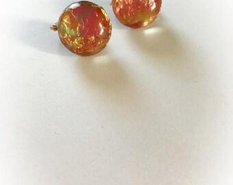 Vintage Lucite Orange Foil Dome Earrings Clip On