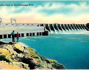 Vintage Tennessee Postcard - Fort Loudoun Dam on the Tennessee River (Unused)