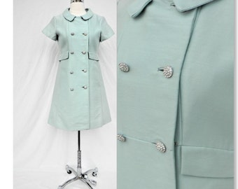 """Lovely Vintage 1960's Aqua  soft blue double breasted dress with rhinestone buttons- Size S bust 36"""""""
