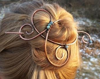 Large hair clip Boho copper hair barrette for long Hair slide Bad hair day Bun holder Gift for Womens gift For her Hair stick Hair holder
