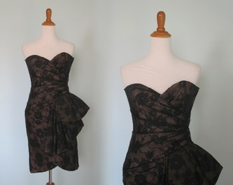 Vintage 80s Victor Costa Black Lace Cocktail Dress - Gorgeous Lace Strapless Evening Dress - Vintage 1980s Evening Gown S