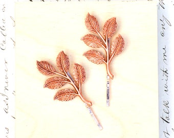 Rose Gold Leaf Bobby Pins Branch Hair Pins Rose Gold Bridal Headpiece Garden Wedding Woodland Forest Gift for Her Rose Gold Twig Bobby Pins