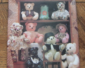 Vintage 1991 Buterick pattern 5822 Stuffed BEARS and CLOTHES sz 15 and 18 inches uncut