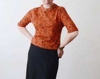 1950s Orange Floral Knit Top - S/M