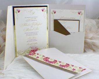 Flower Glam Wedding Invitation | Floral | Glitter | Gold | Pink | Roses | Fabulous | Glitz | Elegant | Romantic | Hydrangeas | Spring