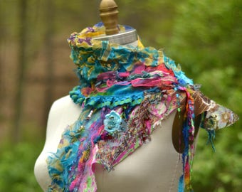 Colorful long SCARF Wrap, Bohemian art to wear OOAK  textured  accessory, shabby chic refashioned fantasy scarf, wool free