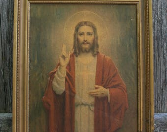 Vintage Religious Framed Wall Picture of Jesus