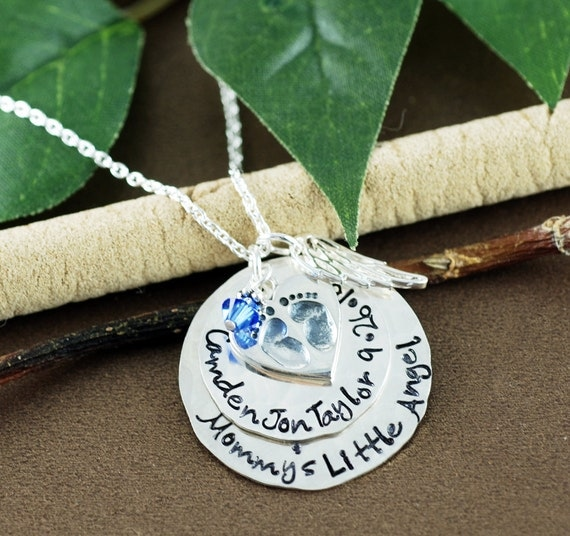 Remembrance Jewelry, Memorial Necklace, Hand Stamped Baby Feet Jewelry, Personalized Jewelry, Angel Wing Necklace, Miscarriage Necklace