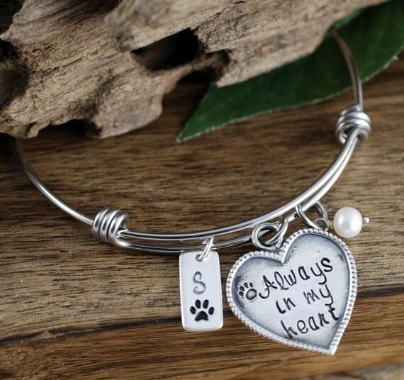 Pet Memorial Jewelry, Always in my heart, Paw Print Bracelet, Dog Mom Bracelet, Adjustable Bangle, Pet Memorial Bracelet, Loss of Pet