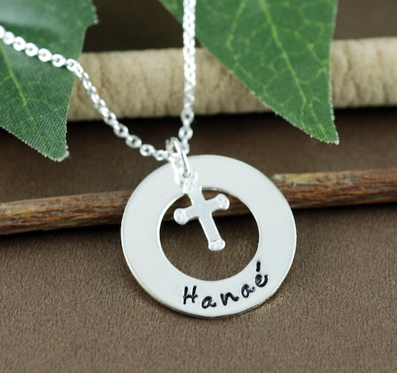Personalized Cross Necklace, Hand Stamped Necklace, Silver Cross Jewelry, Religious Necklace, Communion, Baptism Necklace, Confirmation Gift