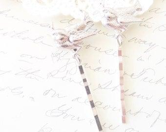 Silver Bird on a Branch Hair Pin Set - Silver Bird Bobby Pins - Woodland Hair Pins - Whimsical - Nature - Bridal - Sparrow - Swallow