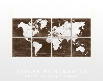 XL World Map Wall Art - Custom Map Print Collection - Nursery or Office Decor - 24x48
