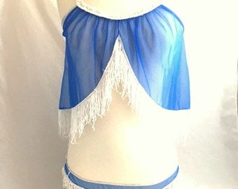 Vintage 60s GO GO FRINGE Lingerie / Two Piece Blue Nylon Negligee / Low Cut Panties / Burlesque Style / Dallas Cowboy Cheerleader Inspired