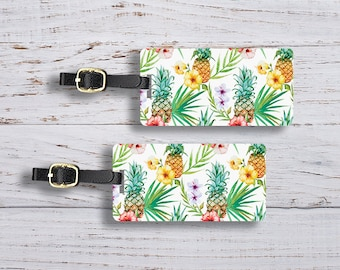 Luggage Tags Pineapple Summertime Metal Luggage Tag Set With Printed Custom Info On Back, Single Tag or Set Available