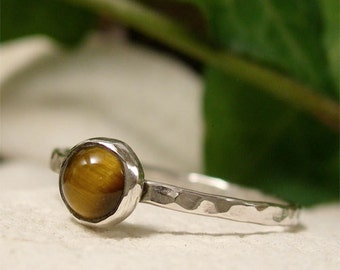 Tigers Eye Ring, Sterling Silver Natural Gemstone Cabochon Stacking Ring, Brown Semi Precious Stone Ring, Solitaire Silver Ring Gift