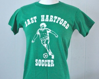 Vintage Soccer Tee Kelly Green East Hartford Ct Connecticut Simple TShirt SMALL
