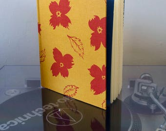 Basic Beautiful Hardcover Sketchbook - Yellow with Red Poppy Pattern and Royal Blue End Paper