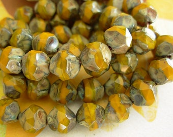 Baroque Beads, Picasso Beads, Fire Polished, Czech Glass Beads, 8mm- Mustard Picasso (12)