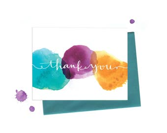 Watercolor Dots Thank You Note, Single Greeting Card in Aqua, Fuschia and Mustard with Hand Typography