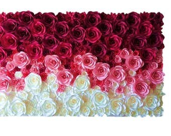 Flower Backdrop, Ombre Flower Wall Decor for  Outdoor Weddings and Events 12' by 8'