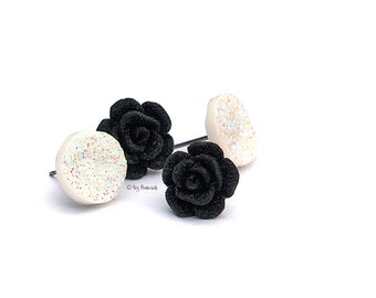Glitter Cabochon and Rose Earrings, 2 Pair Set.  Black Glitter Roses and White Glitter Faux Druzies on Titanium Posts