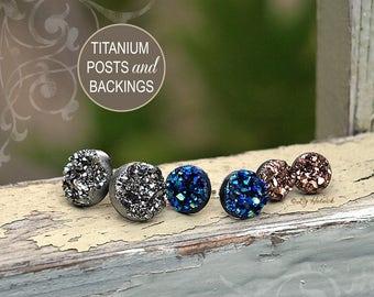 Faux Druzy Stud Titanium Earrings. 3 Pair Set Drusy Glitter Posts. Galaxy Collection. Dark Silver, Blue-Black, Rose Bronze Metallic