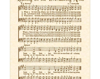 LEANING On The EVERLASTING ARMS - Hymn Art - Custom Christian Home Decor - VintageVerses Sheet Music - Inspirational Wall Art - Sepia Brown