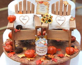 """FALL Wedding Topper SALE! Base Attached FITS 6"""" Cake Top Rustic Barn Sign/Honeymoon Beverage For Two Custom Made To Order Personalized!"""