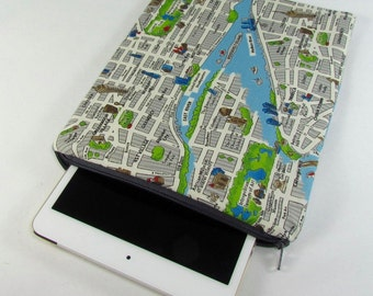 iPad mini Padded Sleeve (for iPad mini 2, 3, 4) - New York City Landmarks Map **handmade**